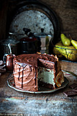 Chocolate cake with pear and baked blue cheese cheesecake layer