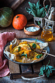 Roast pumpkin wedges with sage