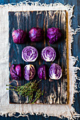 Mini red cabbages, whole and halved