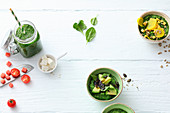 Three green smoothie bowl varieties