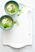 Wild herb and chickpea soup with tahini