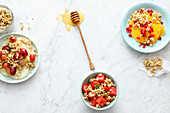 Three breakfast muesli variations with crispy buckwheat