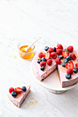 Red berry cream cheese cake with chia seeds
