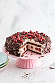 Black Forest Gateau made with chickpeas and soya cream