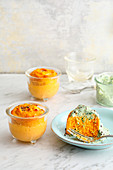 Sweet potato flans topped with herbs