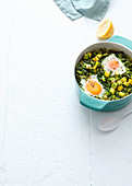 Winter shakshuka with kale and avocado