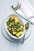 Green bean salad with potates, pears, and cooked ham