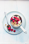 Warm oatmeal with pecans and fresh berries
