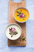 Two buttermilk cream soups with squash and potatoes