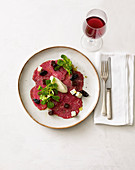 Beef carpaccio with spiced plum jelly