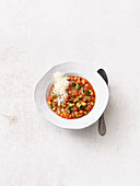 Quinoa minestrone with courgettes and pesto