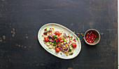 Bulgur salad with chickpeas and aubergine and pomegranate cream