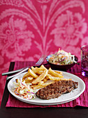 Steak with chips and coleslaw