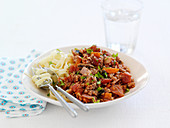 Tagliatelle with turkey bolognese