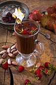 Hot drinking chocolate with raspberries