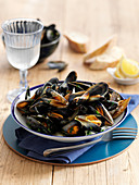 Moules marinieres (mussels in white wine, France)