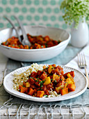 Sweet potato and carrot tagine with couscous