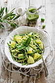 Pasta (Trofie) with pesto, potatoes and green beens
