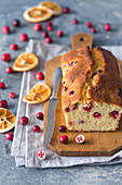 Orange cranberry cake, with fresh cranberry