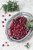 Fresh cranberry on a metal tray
