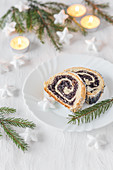 Polish Christmas poppy seed roll cake with icing