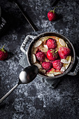 Strawberry clafoutis in a mini cocotte