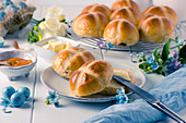 English hot cross buns with butter and jam for Easter
