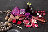 Various red and purple vegetables