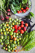 Freshly harvested vegetables with colourful tomatoes, beetroot, lettuce, chard, beans and peppers