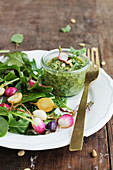 Radish salad with pesto