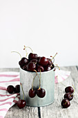 Sweet dark cherries in a tin