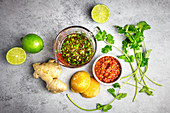 Vietnamese marinade with lime, ginger, palm sugar, coriander and chilli paste
