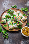 Vietnamese summer rolls with peanut sauce
