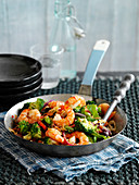 Stir fried prawns with vegetables