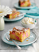 Rhubarb cake with powdered sugar