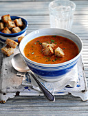 Tomato and basil soup with croutons