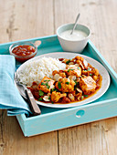 Salmon and cauliflower curry with rice