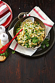 Leek, pea and coriander pilaf