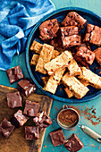 4-ingredient Turkish delight biscuits; 4-ingredient raspberry hazelnut brownies; 4-ingredient chewy caramel peanut slice; 4-ingredient mars bar mallow fudge