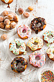 Colourful doughnuts and cinnamon balls