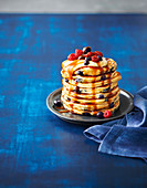 Blueberry and custard pancakes with caramel sauce