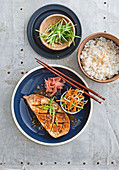 Miso aubergine with pickled vegetables