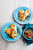 Curry crepes with shrimps and tomato salsa