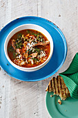 Lamb soup with lemon and chard