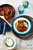 Slow stewed beef stew with tagliatelle