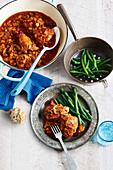 Slowly braised cacciatora chicken with green beans