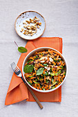 Carrot and lentil salad with nuts