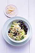 Savoy cabbage with pearl barley and red grapes