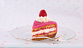 A slice of raspberry marzipan cake