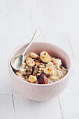 Porridge with roasted hazelunts, almonds, walnuts and brazil nuts